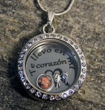 """""""Te llevo en mi corazón"""" Medallón de encanto flotante con foto"""