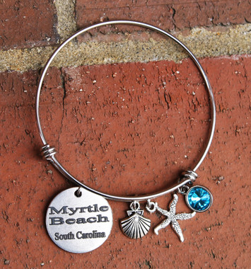 Personalized Beach Bangle Bracelet