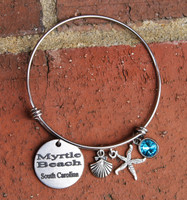 Personalized Beach Bangle Bracelet