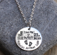 Birth Stats - Engraved Necklace