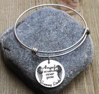 Angels watch over you - Engraved Bangle Bracelet