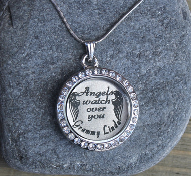 Angels watch over you - Engraved Floating Charm Locket