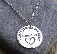 I carry you in my heart - Engraved Necklace