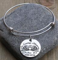 In Loving Memory (Angel Wings) - Engraved Bangle Bracelet