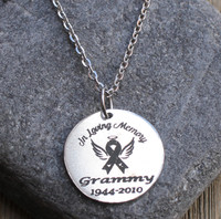 In Loving Memory (Awareness Ribbon) - Engraved Necklace
