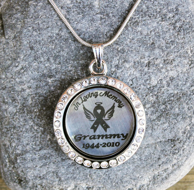In Loving Memory (Awareness Ribbon) - Engraved Floating Charm Locket