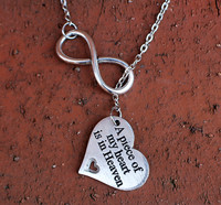 """""""A piece of my heart is in Heaven"""" Silver Infinity Necklace (388)"""