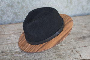 Black Fedora W/ Walnut Brim