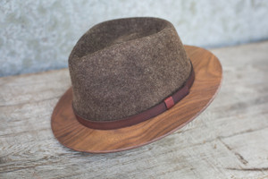 Brown Fedora W/ Walnut Brim
