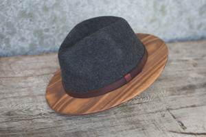 Gray Fedora W/ Walnut Brim