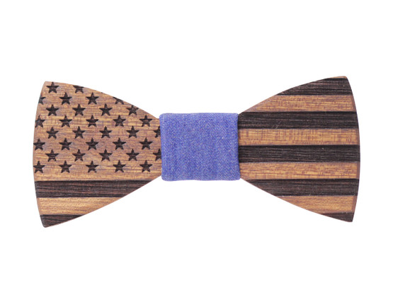 Sapele Stars and Stripes with Blue Denim Fabric