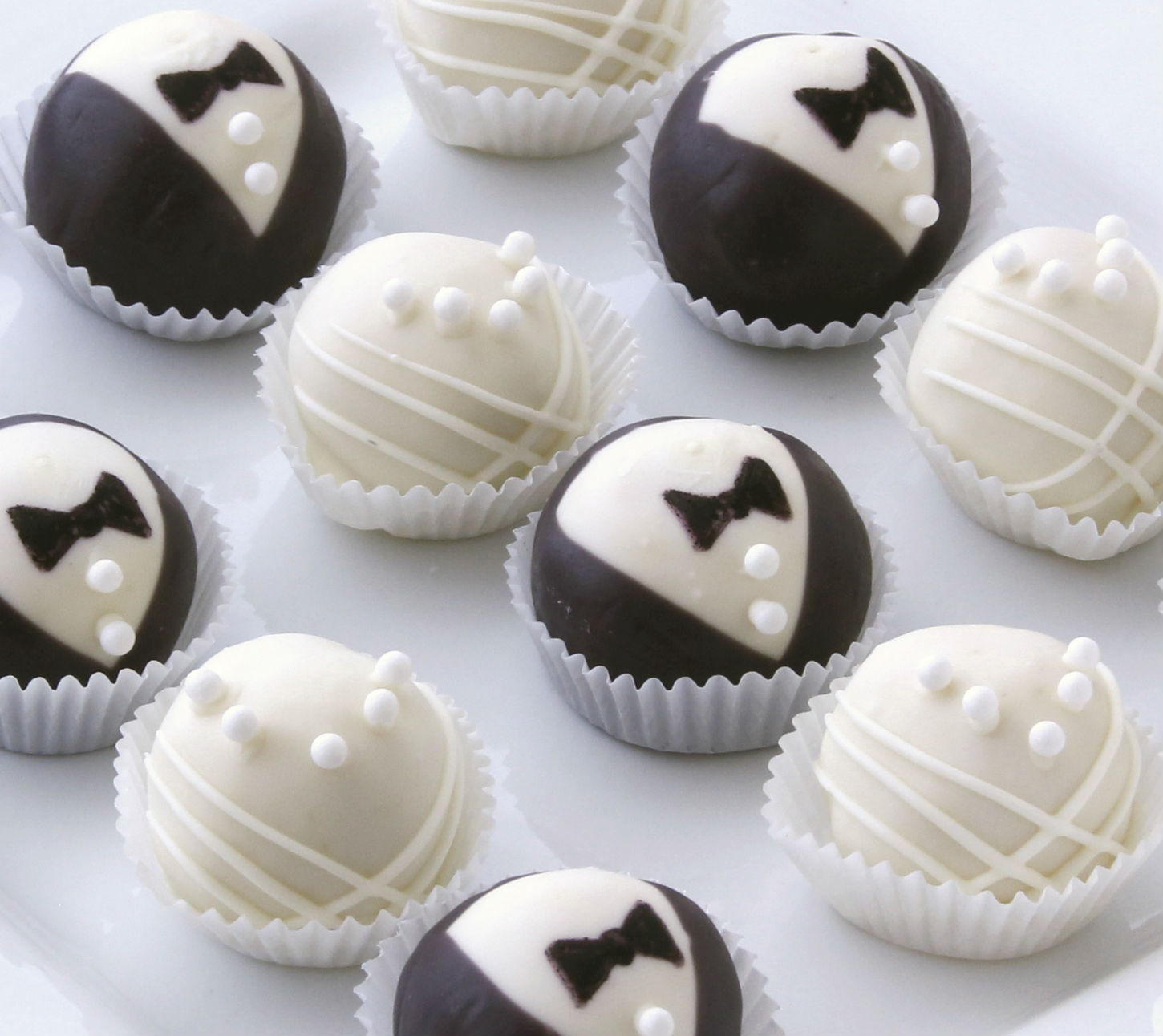 bride and groom cake balls
