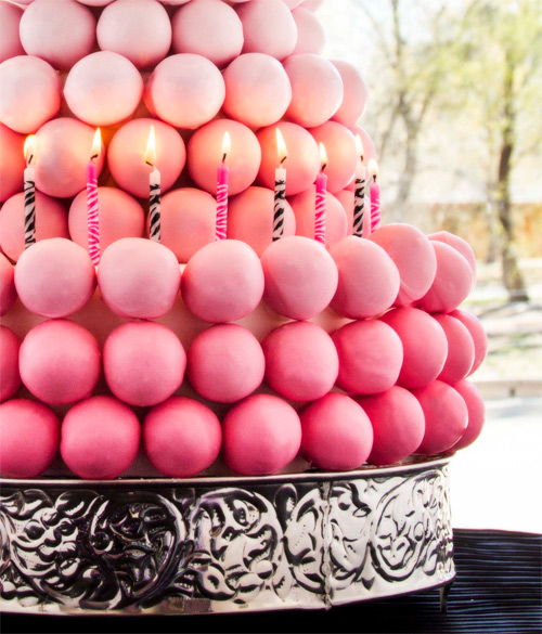 pink ombre cake ball cake