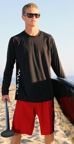 Harvest Blue  - Men's Aqua Tech Long Sleeve - Santa Cruz - Black