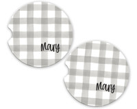 Personalized Car Coaster - Gray Gingham