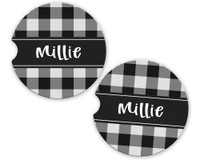 Personalized Car Coaster - Black and White Plaid