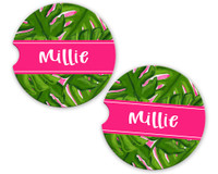 Personalized Car Coaster - Green Palm Leaves