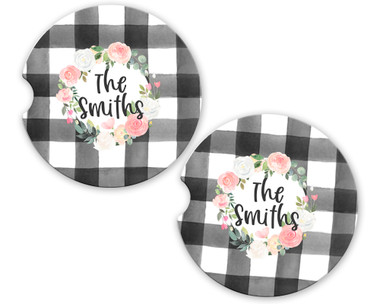 Personalized Car Coaster - Pink Rose Wreath