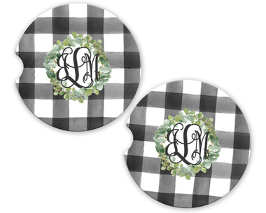 Personalized Car Coaster - Green Wreath