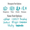 Font and Monogram Options