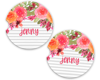 Personalized Car Coaster - Bright Floral Drop