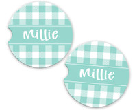 Personalized Car Coaster - Turquoise Gingham