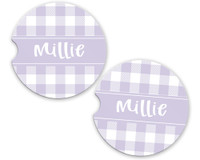 Personalized Car Coaster - Lavender Gingham