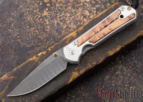 Chris Reeve Knives: Large Sebenza 21 - Thuya Burl - Ladder Damascus - 030218