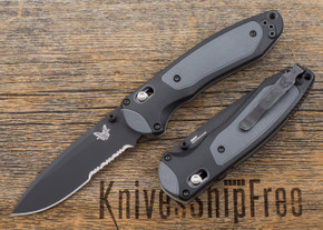 Benchmade Knives: 590SBK Boost - Assisted Opening - Black Blade - Partially Serrated