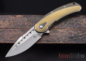 Todd Begg Knives: Steelcraft Series - Bodega - Bronze & Gold - Diamond Pattern - Satin Blade
