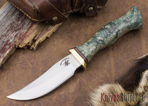 Jesse Hemphill Knives: High Falls II Special - Teal Box Elder Burl
