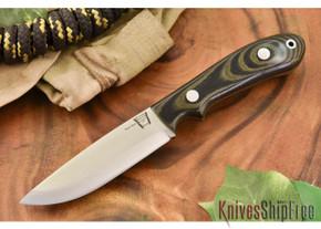 Hyken Knives: Bushcrafter CPM-154 - Black & Green Linen Micarta