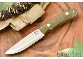 Hyken Knives: Bushcrafter CPM-154 - Green Canvas Micarta