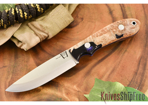 Hyken Knives: Bushcrafter CPM-154 - Natural Maple Burl / Blue Acrylic Hybrid