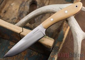True Saber Knives: Delaware - Bone Linen Micarta - Red Liners
