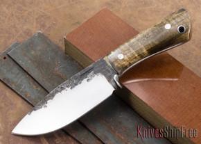 Lon Humphrey Knives: Custom Brute - Drop Point - Dark Curly Maple #9