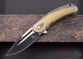 Todd Begg Knives: Steelcraft Series - Bodega - Bronze Frame - Gold Diamond Pattern - Two-Tone Blade