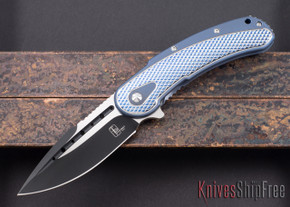 Todd Begg Knives: Steelcraft Series - Bodega - Blue Frame - Silver Checkered Pattern - Two-Tone Blade