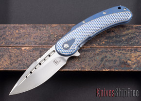 Todd Begg Knives: Steelcraft Series - Bodega - Blue Frame - Silver Checkered Pattern - Satin Blade