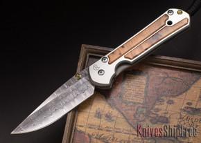 Chris Reeve Knives: Large Sebenza 21 - Thuya Burl - Basketweave Damascus - 050410