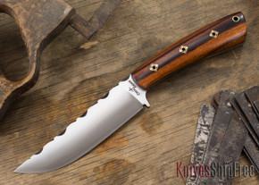 Cross Knives: All Round Hunter Knife - Desert Ironwood - Black Liners - Square Mosaic Pins - Filework