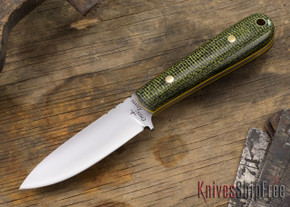 Cross Knives: Drop Point EDC Knife - Shadetree Burlap - Yellow Liners - Brass Pins