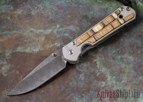 Chris Reeve Knives: Small Sebenza 21 - Spalted Beech - Raindrop Damascus - 052305