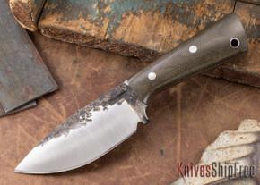 Lon Humphrey Knives: Custom Brute - Green Canvas Micarta - Drop Point #10