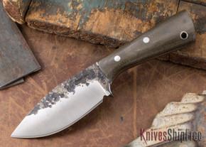 Lon Humphrey Knives: Custom Brute - Green Canvas Micarta - Spear Point #12