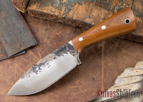 Lon Humphrey Knives: Custom Brute - Natural Canvas Micarta - Drop Point #13