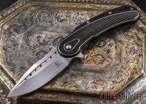 Todd Begg Knives: Steelcraft Series - Bodega - Black Frame - Black Fan Pattern - Satin Blade