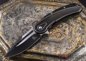 Todd Begg Knives: Steelcraft Series - Bodega - Black Frame - Black Fan Pattern - Two-Tone Blade