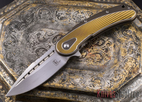 Todd Begg Knives: Steelcraft Series - Bodega - Bronze Frame - Gold Fan Pattern - Satin Blade