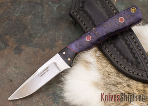 Alan Warren Knives: Custom Neck Knife #1857 - Dyed Maple Burl - Red Liners - Black G-10 Bolster